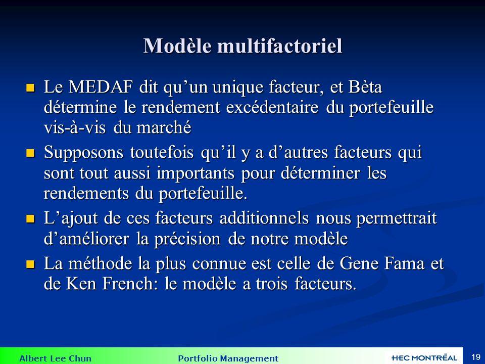 Albert Lee Chun Portfolio Management 19 Modèle multifactoriel Le MEDAF dit qu'un unique facteur, et Bèta détermine le rendement excédentaire du portef