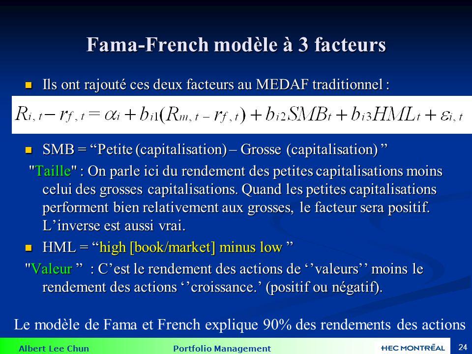 Albert Lee Chun Portfolio Management 24 Fama-French modèle à 3 facteurs Ils ont rajouté ces deux facteurs au MEDAF traditionnel : Ils ont rajouté ces