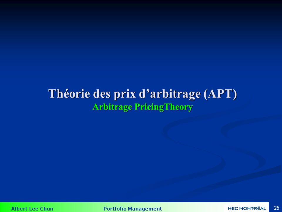 Albert Lee Chun Portfolio Management 25 Théorie des prix d'arbitrage (APT) Arbitrage PricingTheory