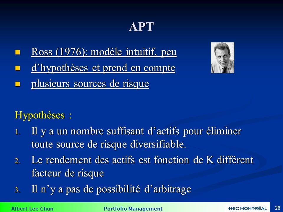 Albert Lee Chun Portfolio Management 26 APT Ross (1976): modèle intuitif, peu Ross (1976): modèle intuitif, peu d'hypothèses et prend en compte d'hypo