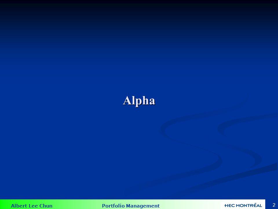 Albert Lee Chun Portfolio Management 43 Exemple d'un problème de APT FacteurPrime de Risque A.06 A.06 B.04 B.04 C.02 C.02 Taux sans risque = 6% Taux sans risque = 6% Rendement =.17 + 1.0*A + 0.75*B +.05*C + e Rendement =.17 + 1.0*A + 0.75*B +.05*C + e Substitué la prime de risque dans la formule de APT Substitué la prime de risque dans la formule de APT E[Ri] =.06 + 1.0*0.06+0.75*0.04+0.05*0.02 =.151 E[Ri] =.06 + 1.0*0.06+0.75*0.04+0.05*0.02 =.151 15.1% Sous-évalué.