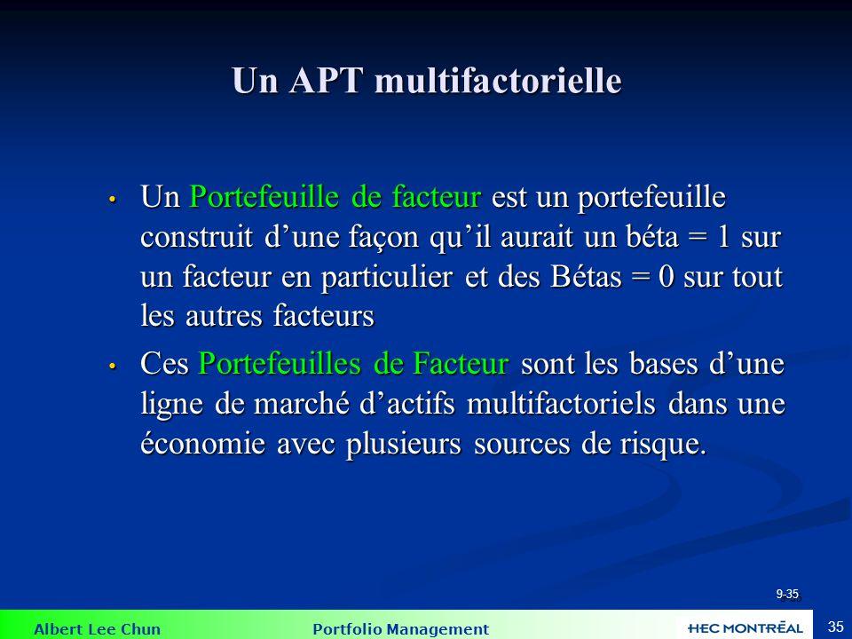 Albert Lee Chun Portfolio Management 35 Un APT multifactorielle Un Portefeuille de facteur est un portefeuille construit d'une façon qu'il aurait un b