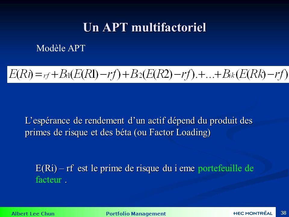 Albert Lee Chun Portfolio Management 38 Un APT multifactoriel Modèle APT L'espérance de rendement d'un actif dépend du produit des primes de risque et