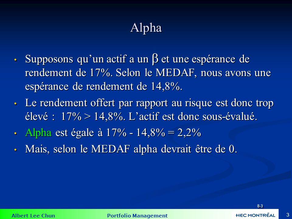 Albert Lee Chun Portfolio Management Rappel rapide : 44 Sous-évalué = Prix trop bas = Rendement trop haut Sous-évalué = Prix trop bas = Rendement trop haut Surévalué = Prix trop haut = Rendement trop bas Surévalué = Prix trop haut = Rendement trop bas P(t) = P(t+1)/ 1+ r P(t) = P(t+1)/ 1+ r r = P(t+1)/P(t) – 1 r = P(t+1)/P(t) – 1 où r est le rendement pour un profit risqué P(t+1).