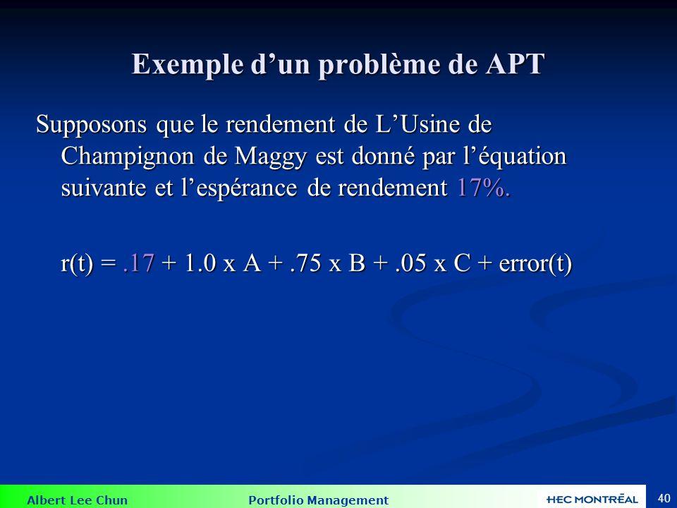 Albert Lee Chun Portfolio Management 40 Exemple d'un problème de APT Supposons que le rendement de L'Usine de Champignon de Maggy est donné par l'équa