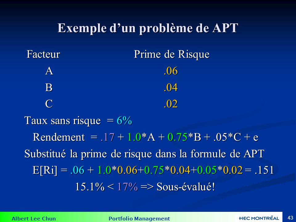 Albert Lee Chun Portfolio Management 43 Exemple d'un problème de APT FacteurPrime de Risque A.06 A.06 B.04 B.04 C.02 C.02 Taux sans risque = 6% Taux s