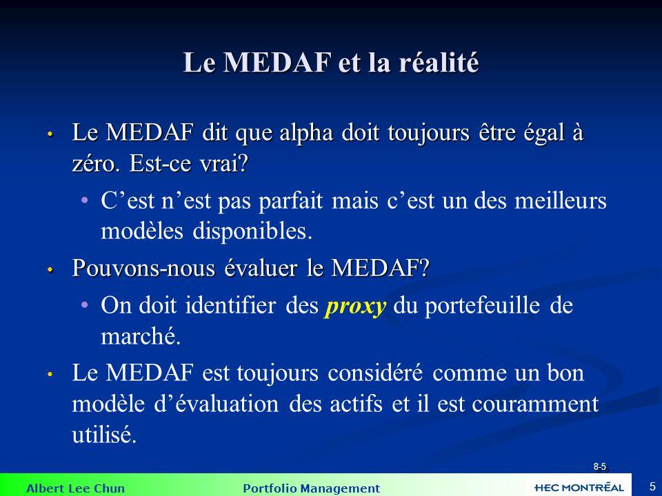 Albert Lee Chun Portfolio Management 5 Le MEDAF et la réalité Le MEDAF dit que alpha doit toujours être égal à zéro. Est-ce vrai? Le MEDAF dit que alp