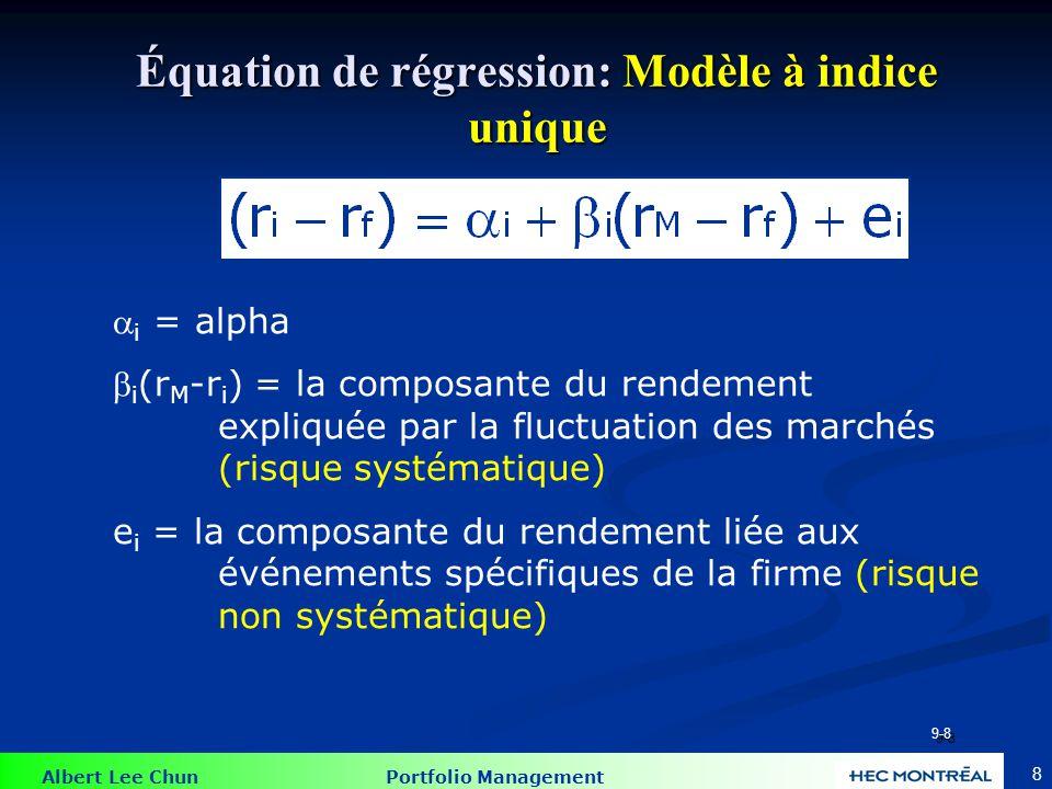 Albert Lee Chun Portfolio Management 8 Équation de régression: Modèle à indice unique  i = alpha  i (r M -r i ) = la composante du rendement expliqu