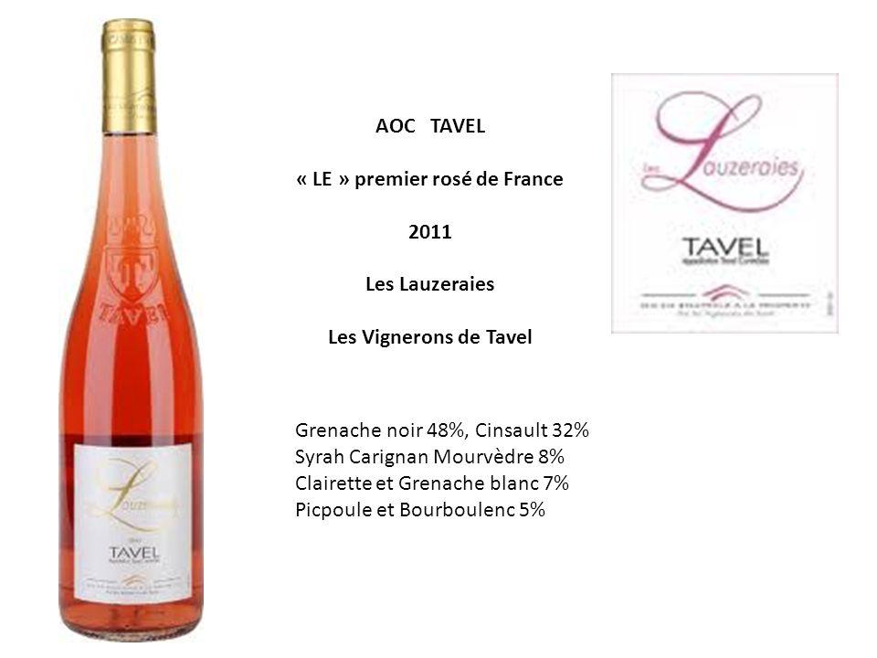 AOC TAVEL « LE » premier rosé de France 2011 Les Lauzeraies Les Vignerons de Tavel Grenache noir 48%, Cinsault 32% Syrah Carignan Mourvèdre 8% Clairette et Grenache blanc 7% Picpoule et Bourboulenc 5%