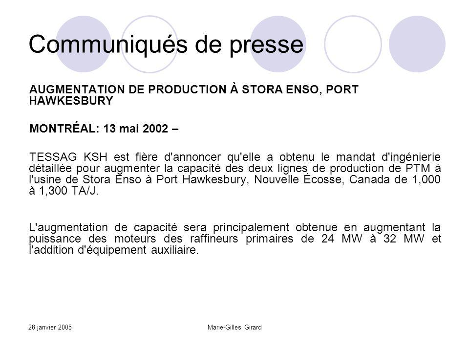 28 janvier 2005Marie-Gilles Girard Communiqués de presse AUGMENTATION DE PRODUCTION À STORA ENSO, PORT HAWKESBURY MONTRÉAL: 13 mai 2002 – TESSAG KSH est fière d annoncer qu elle a obtenu le mandat d ingénierie détaillée pour augmenter la capacité des deux lignes de production de PTM à l usine de Stora Enso à Port Hawkesbury, Nouvelle Écosse, Canada de 1,000 à 1,300 TA/J.