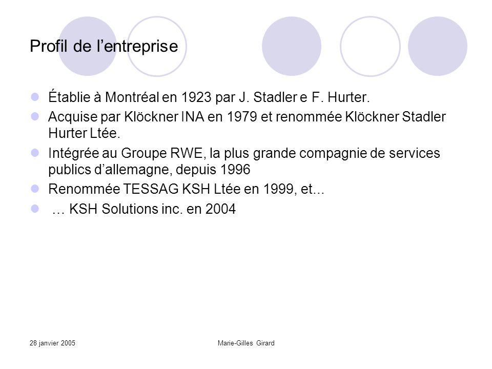 28 janvier 2005Marie-Gilles Girard Profil de l'entreprise Établie à Montréal en 1923 par J.