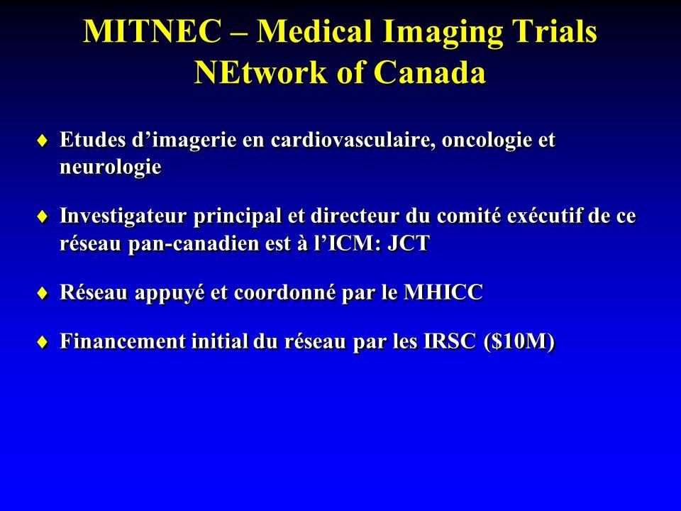 MITNEC – Medical Imaging Trials NEtwork of Canada  Etudes d'imagerie en cardiovasculaire, oncologie et neurologie  Investigateur principal et directeur du comité exécutif de ce réseau pan-canadien est à l'ICM: JCT  Réseau appuyé et coordonné par le MHICC  Financement initial du réseau par les IRSC ($10M)