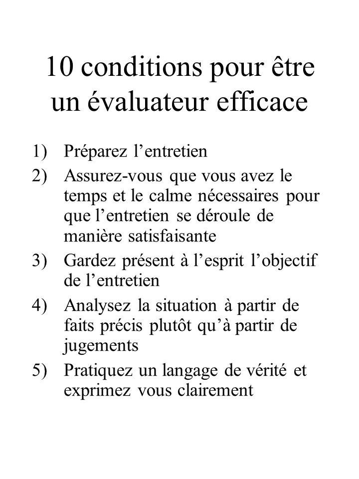 10 conditions pour être un évaluateur efficace 1)Préparez l'entretien 2)Assurez-vous que vous avez le temps et le calme nécessaires pour que l'entreti