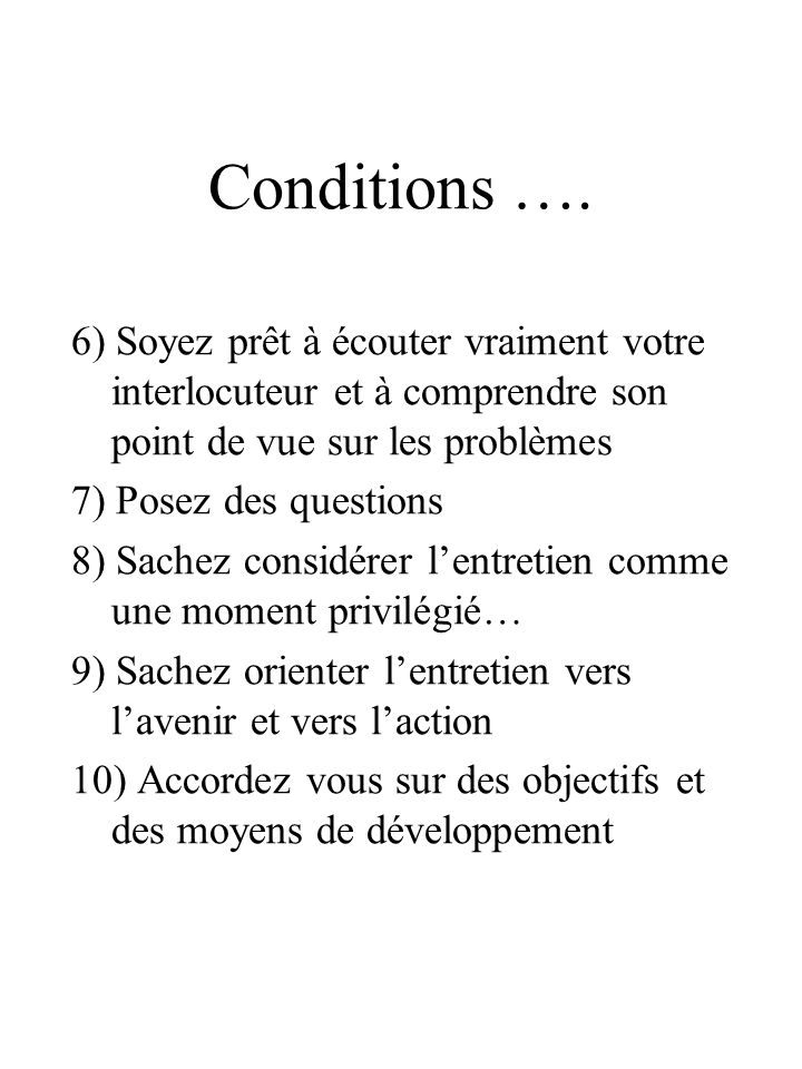 Conditions ….