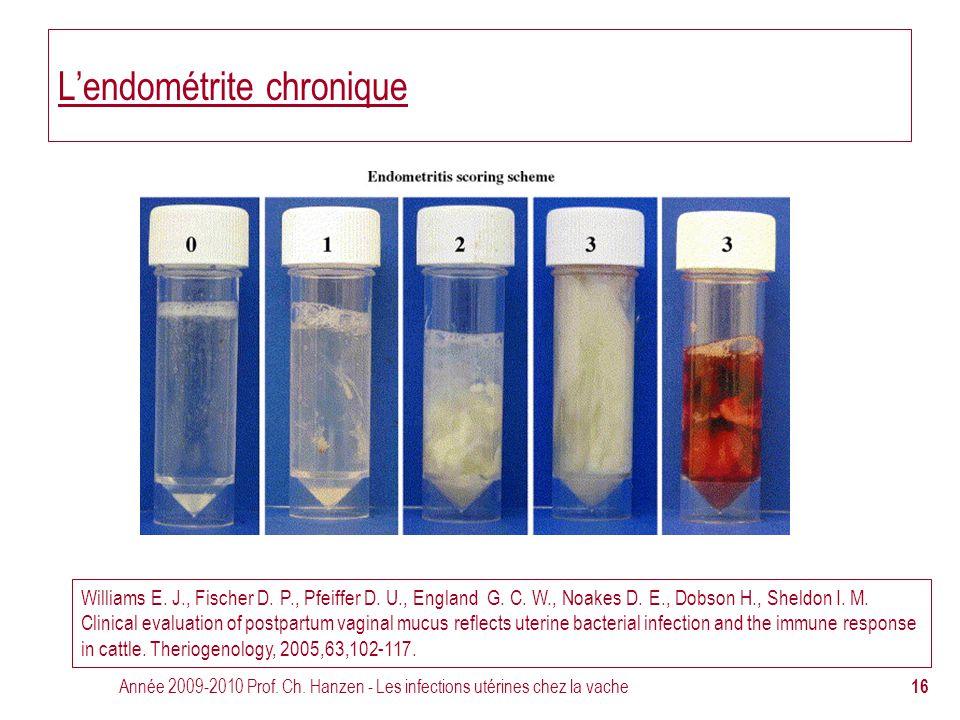 Année 2009-2010 Prof. Ch. Hanzen - Les infections utérines chez la vache 16 L'endométrite chronique Williams E. J., Fischer D. P., Pfeiffer D. U., Eng