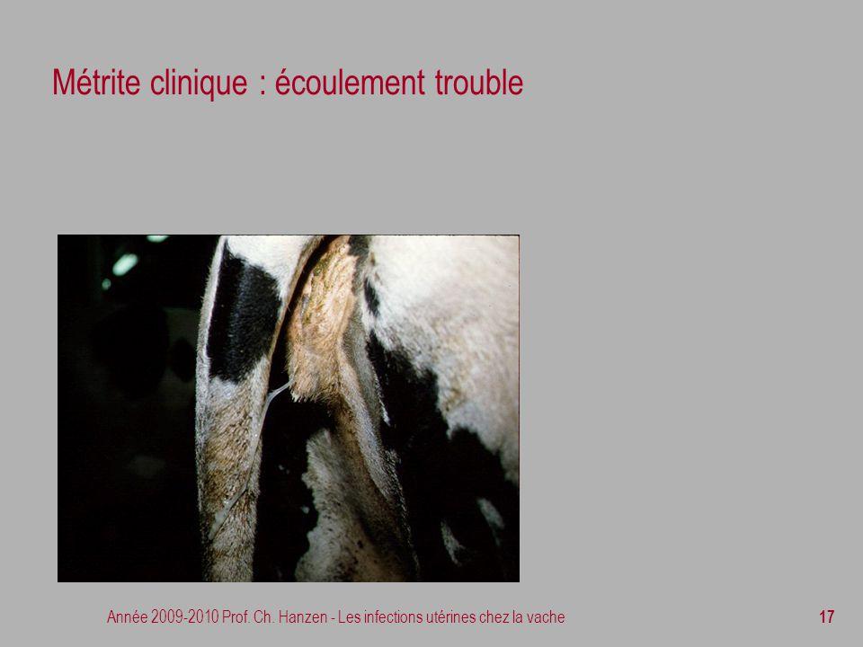 Année 2009-2010 Prof. Ch. Hanzen - Les infections utérines chez la vache 17 Métrite clinique : écoulement trouble