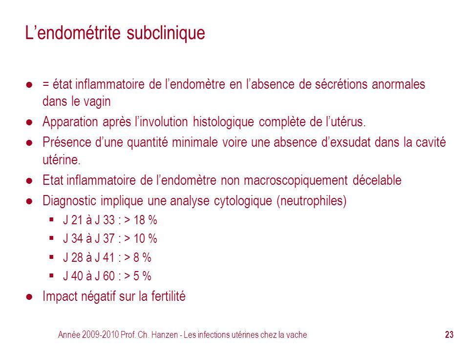 Année 2009-2010 Prof. Ch. Hanzen - Les infections utérines chez la vache 23 L'endométrite subclinique ● = état inflammatoire de l'endomètre en l'absen