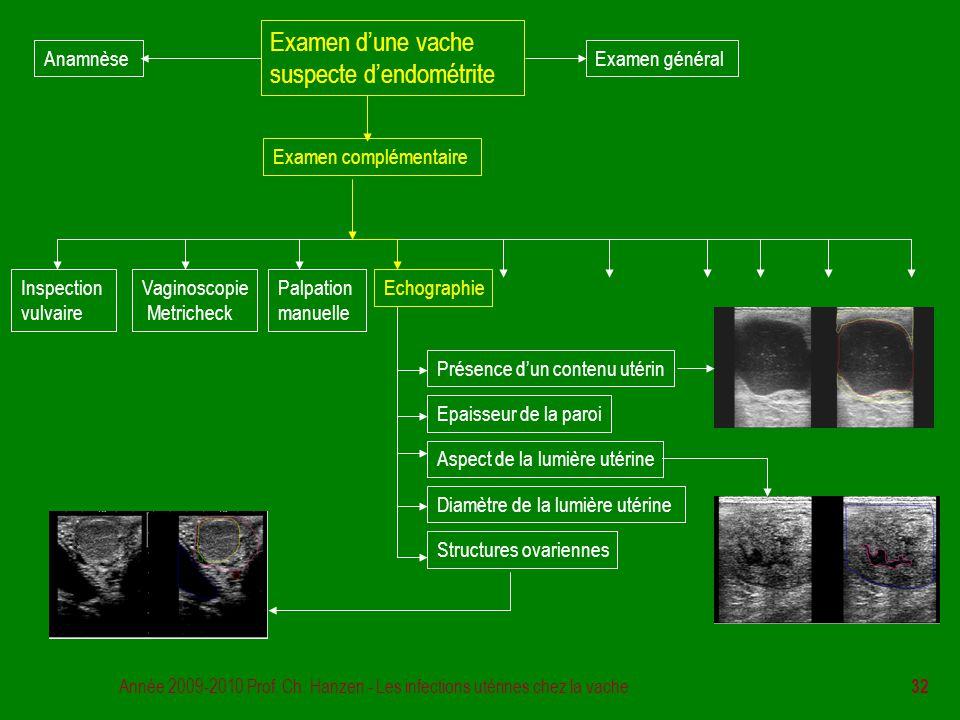 Année 2009-2010 Prof. Ch. Hanzen - Les infections utérines chez la vache 32 Examen d'une vache suspecte d'endométrite Examen général Examen complément