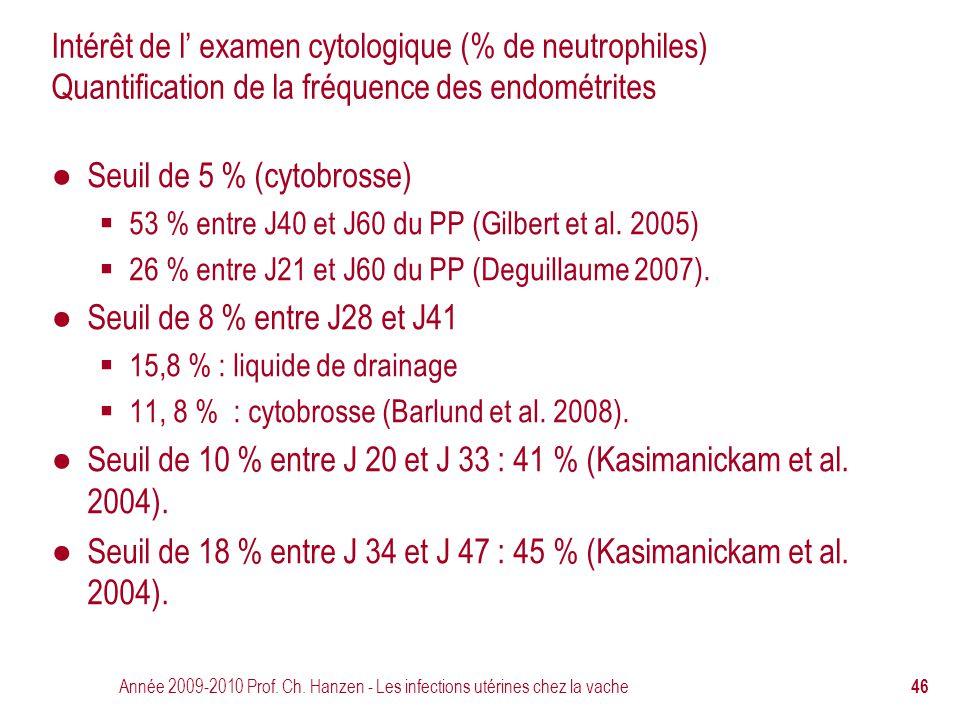 Année 2009-2010 Prof. Ch. Hanzen - Les infections utérines chez la vache 46 Intérêt de l' examen cytologique (% de neutrophiles) Quantification de la