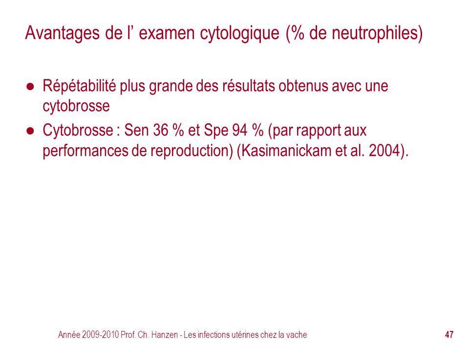 Année 2009-2010 Prof. Ch. Hanzen - Les infections utérines chez la vache 47 Avantages de l' examen cytologique (% de neutrophiles) ● Répétabilité plus