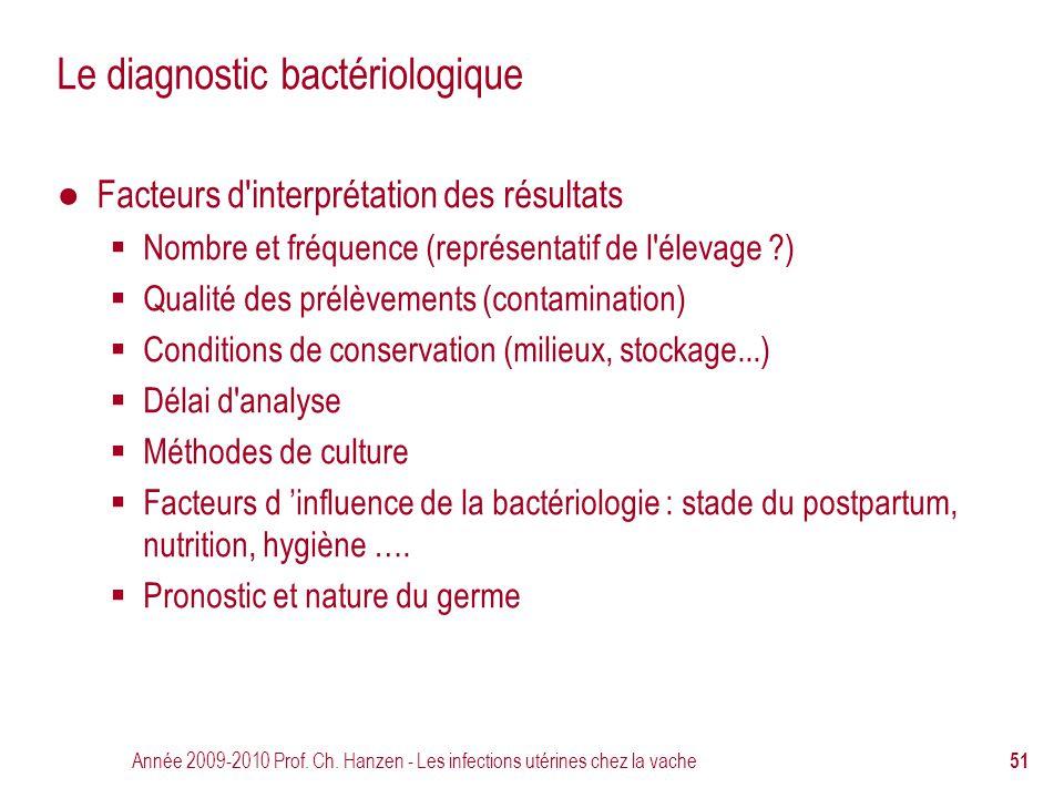 Année 2009-2010 Prof. Ch. Hanzen - Les infections utérines chez la vache 51 Le diagnostic bactériologique ● Facteurs d'interprétation des résultats 