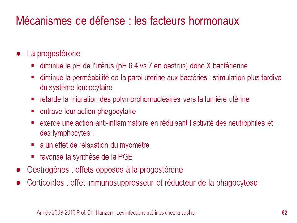 Année 2009-2010 Prof. Ch. Hanzen - Les infections utérines chez la vache 62 Mécanismes de défense : les facteurs hormonaux ● La progestérone  diminue