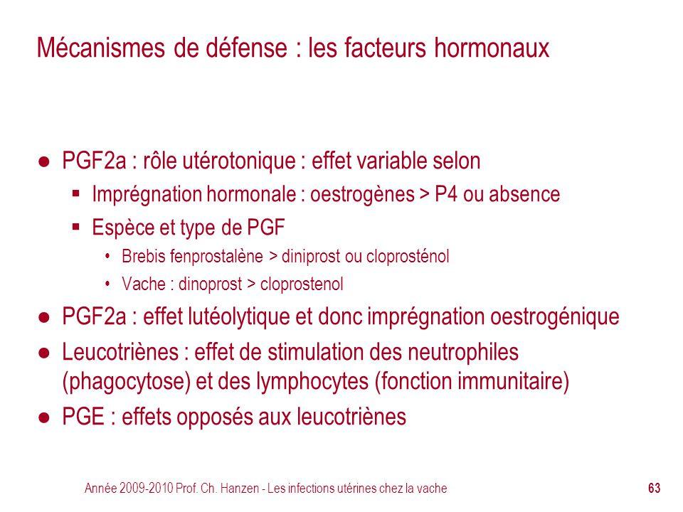 Année 2009-2010 Prof. Ch. Hanzen - Les infections utérines chez la vache 63 Mécanismes de défense : les facteurs hormonaux ● PGF2a : rôle utérotonique
