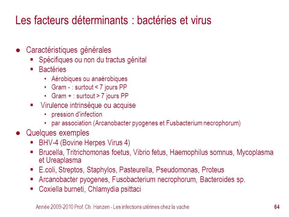 Année 2009-2010 Prof. Ch. Hanzen - Les infections utérines chez la vache 64 Les facteurs déterminants : bactéries et virus ● Caractéristiques générale