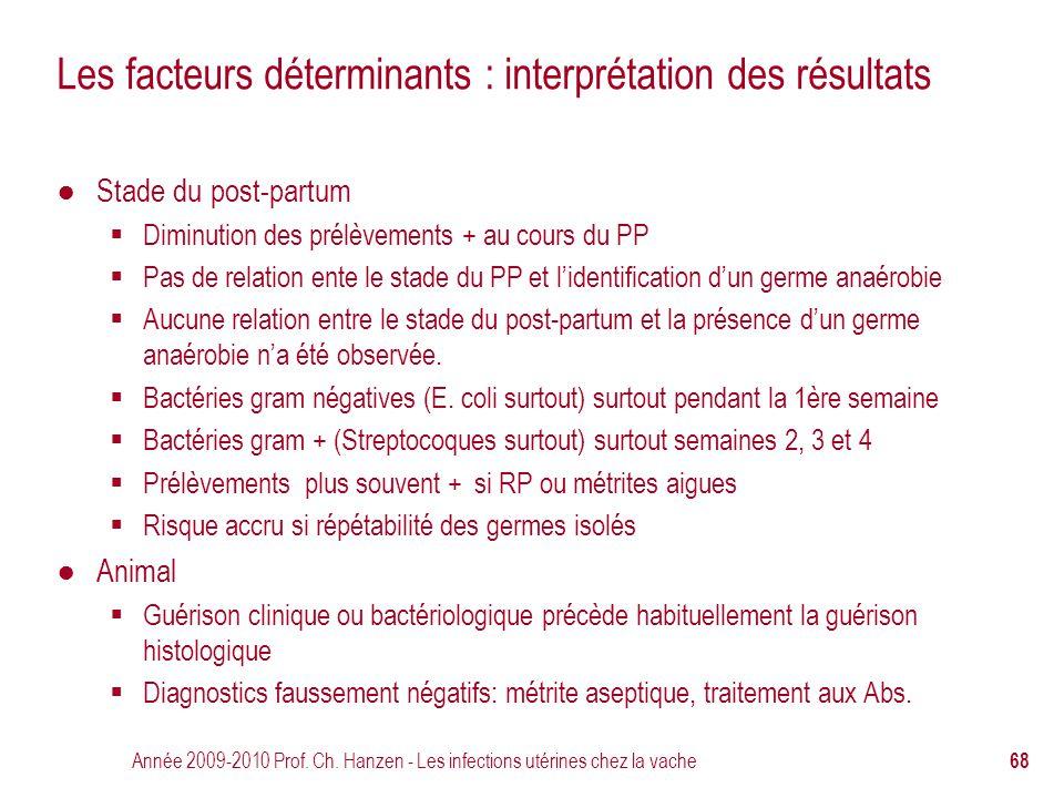 Année 2009-2010 Prof. Ch. Hanzen - Les infections utérines chez la vache 68 Les facteurs déterminants : interprétation des résultats ● Stade du post-p