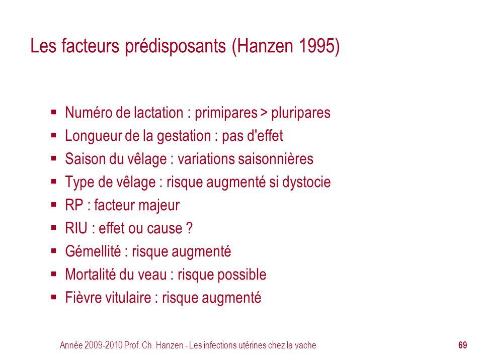 Année 2009-2010 Prof. Ch. Hanzen - Les infections utérines chez la vache 69 Les facteurs prédisposants (Hanzen 1995)  Numéro de lactation : primipare