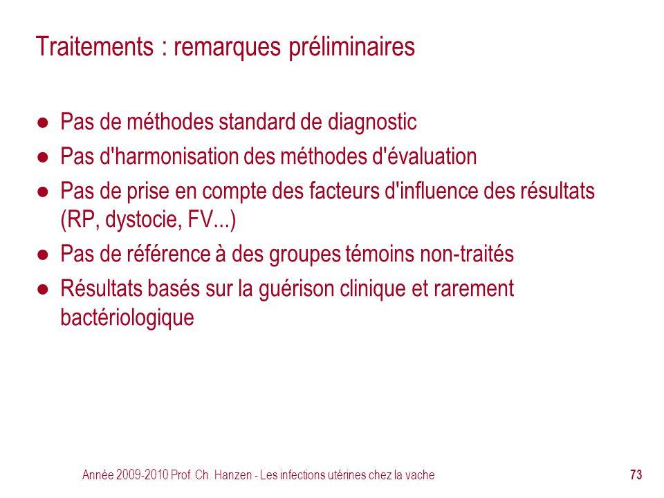 Année 2009-2010 Prof. Ch. Hanzen - Les infections utérines chez la vache 73 Traitements : remarques préliminaires ● Pas de méthodes standard de diagno