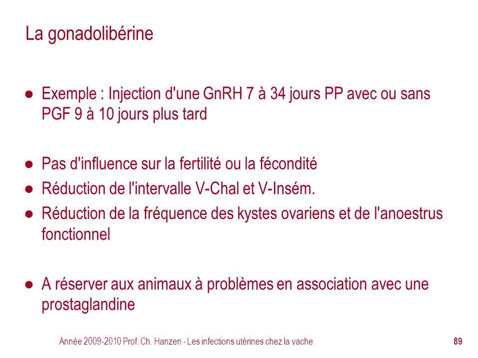 Année 2009-2010 Prof. Ch. Hanzen - Les infections utérines chez la vache 89 La gonadolibérine ● Exemple : Injection d'une GnRH 7 à 34 jours PP avec ou