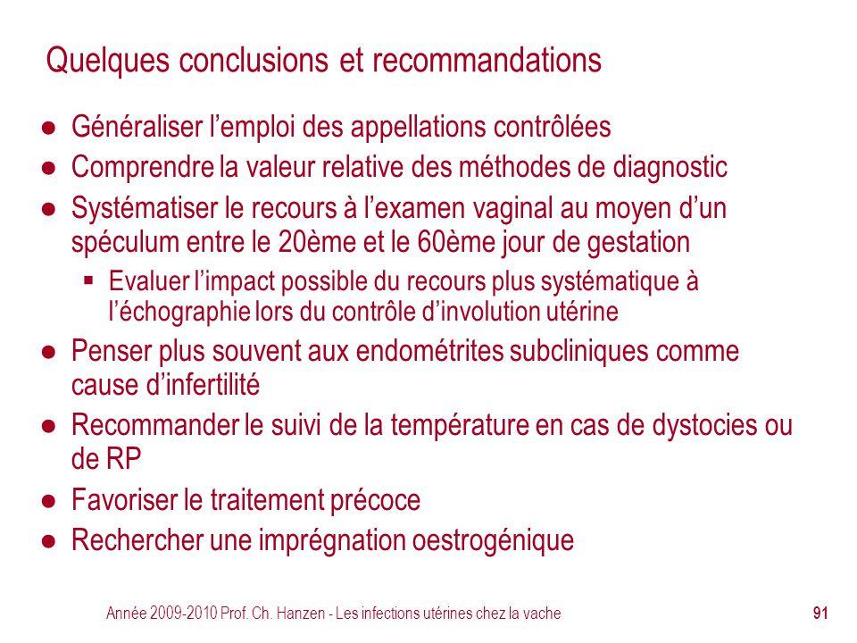 Année 2009-2010 Prof. Ch. Hanzen - Les infections utérines chez la vache 91 Quelques conclusions et recommandations ● Généraliser l'emploi des appella