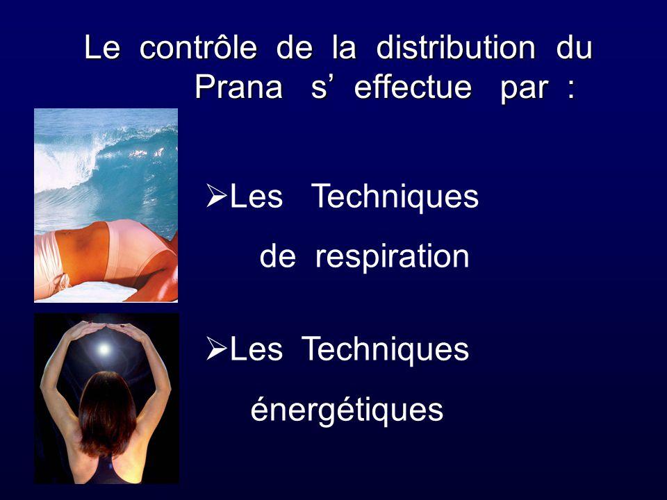 Le contrôle de la distribution du Prana s' effectue par :  Les Techniques de respiration  Les Techniques énergétiques