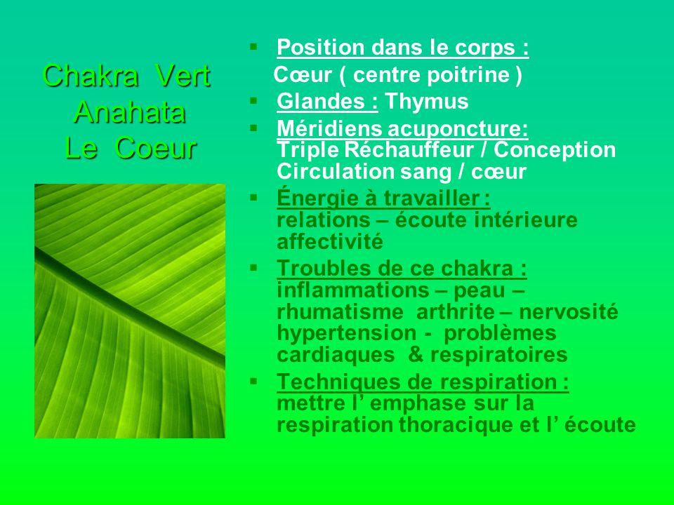 Chakra Vert Anahata Le Coeur   Position dans le corps : Cœur ( centre poitrine )   Glandes : Thymus   Méridiens acuponcture: Triple Réchauffeur