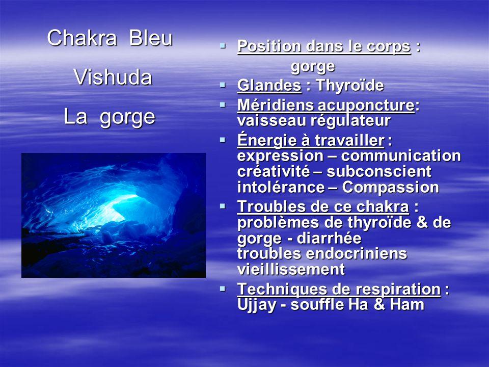  Position dans le corps : gorge gorge  Glandes : Thyroïde  Méridiens acuponcture: vaisseau régulateur  Énergie à travailler : expression – communi