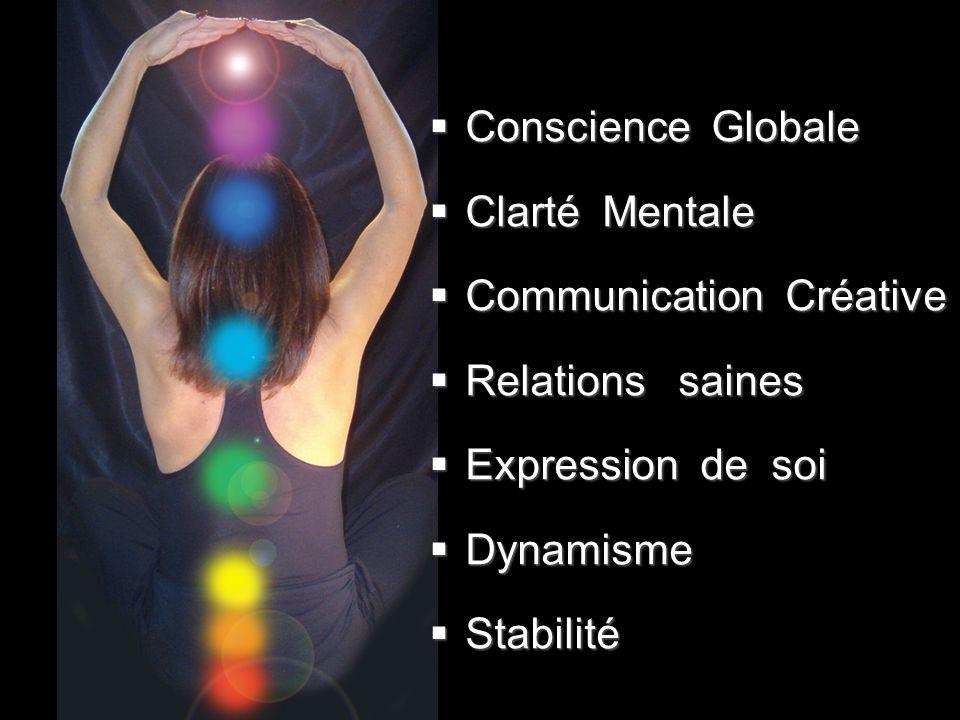  Conscience Globale  Clarté Mentale  Communication Créative  Relations saines  Expression de soi  Dynamisme  Stabilité