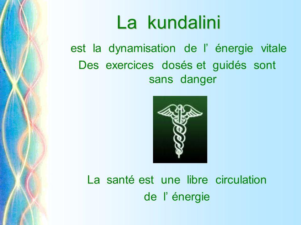 La kundalini La kundalini est la dynamisation de l' énergie vitale Des exercices dosés et guidés sont sans danger La santé est une libre circulation d