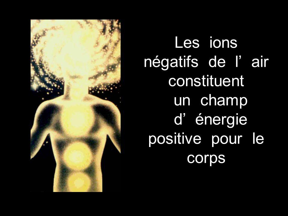 Les ions négatifs de l' air constituent un champ d' énergie positive pour le corps