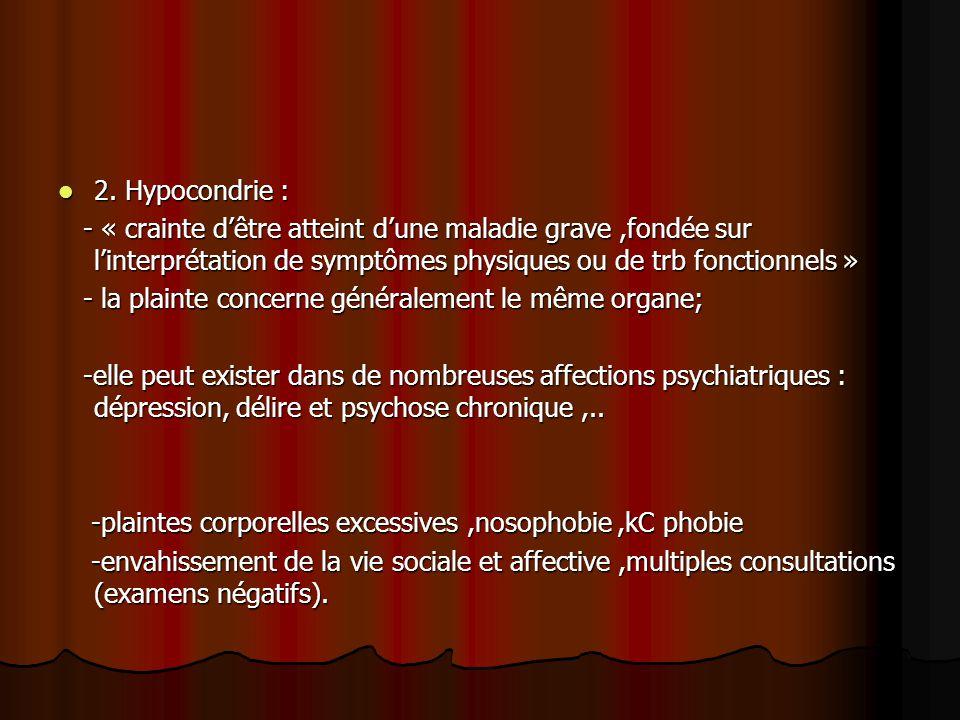 2. Hypocondrie : 2. Hypocondrie : - « crainte d'être atteint d'une maladie grave,fondée sur l'interprétation de symptômes physiques ou de trb fonction