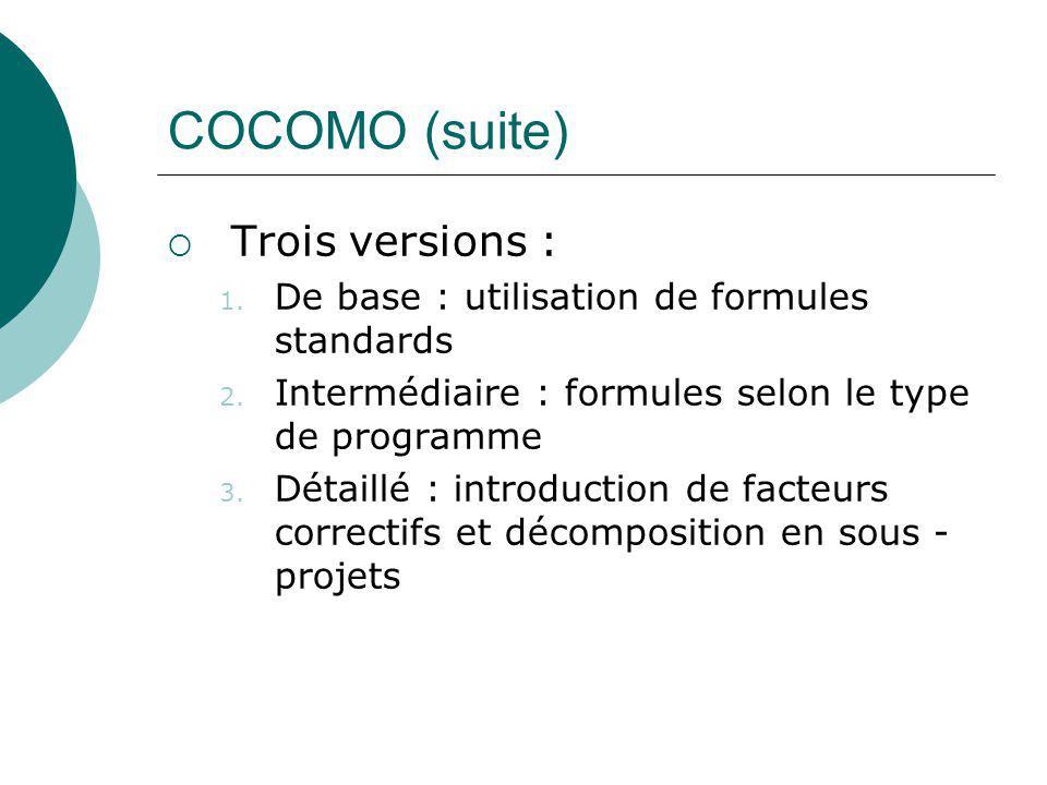 COCOMO (suite)  Trois versions : 1. De base : utilisation de formules standards 2. Intermédiaire : formules selon le type de programme 3. Détaillé :