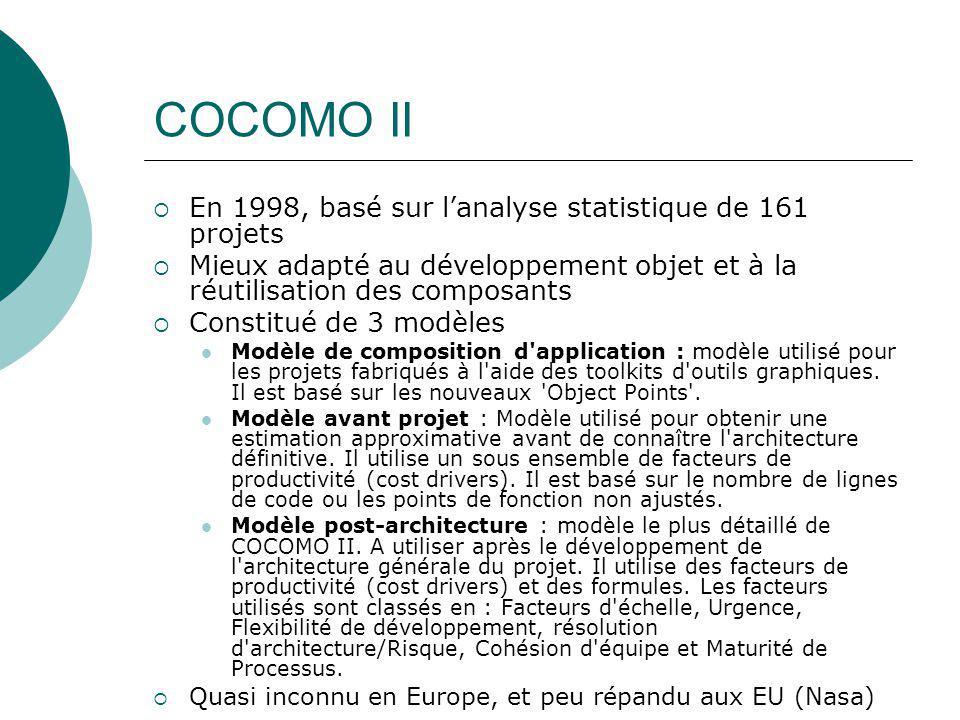 COCOMO II  En 1998, basé sur l'analyse statistique de 161 projets  Mieux adapté au développement objet et à la réutilisation des composants  Consti