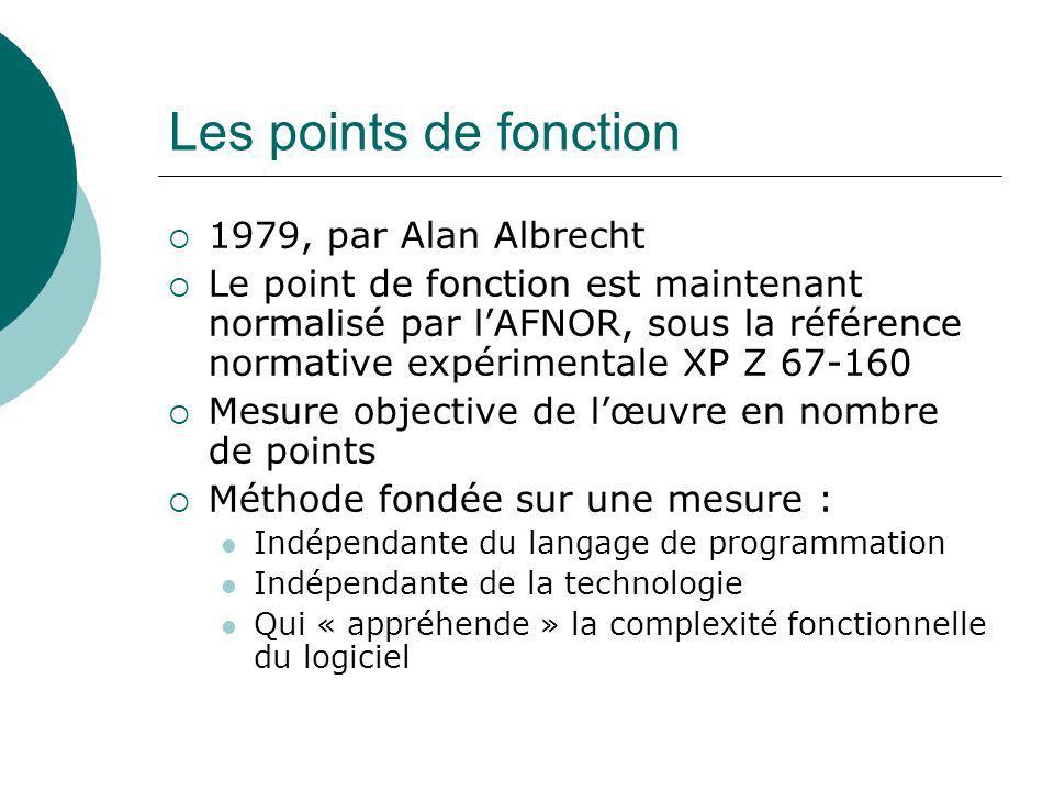 Les points de fonction  1979, par Alan Albrecht  Le point de fonction est maintenant normalisé par l'AFNOR, sous la référence normative expérimental