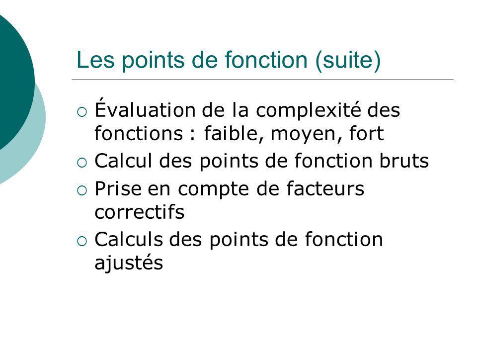Les points de fonction (suite)  Évaluation de la complexité des fonctions : faible, moyen, fort  Calcul des points de fonction bruts  Prise en comp