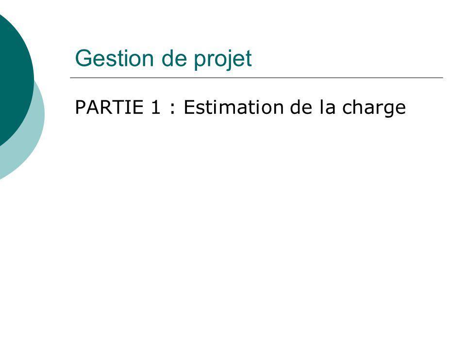 Gestion de projet PARTIE 1 : Estimation de la charge