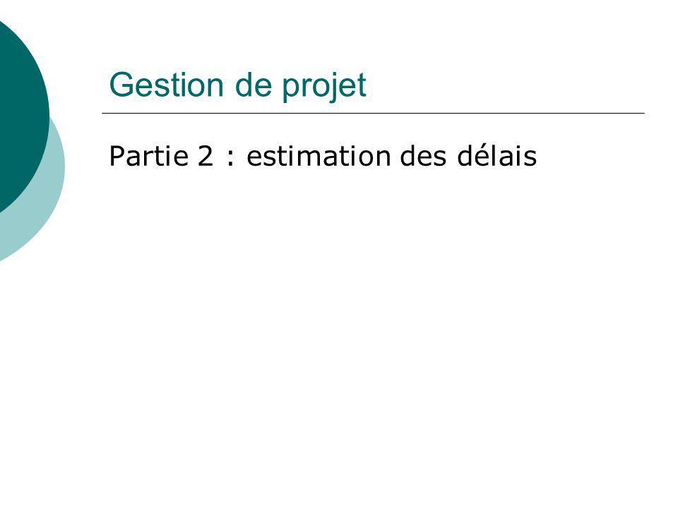 Gestion de projet Partie 2 : estimation des délais