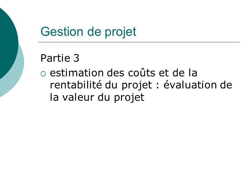 Gestion de projet Partie 3  estimation des coûts et de la rentabilité du projet : évaluation de la valeur du projet