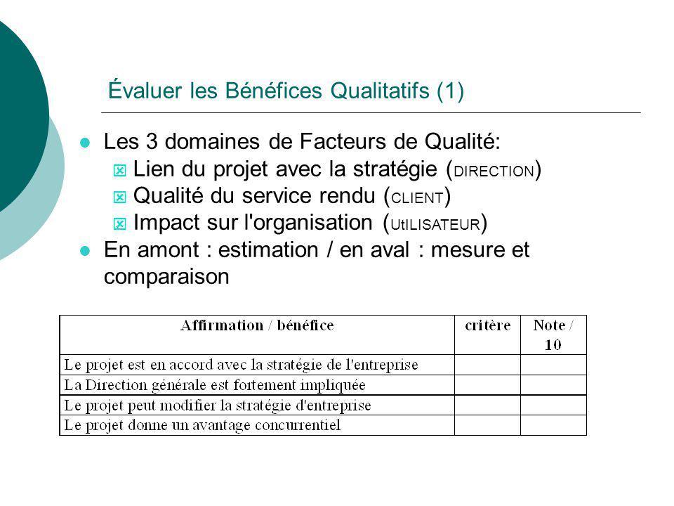 Évaluer les Bénéfices Qualitatifs (1) l Les 3 domaines de Facteurs de Qualité: ý Lien du projet avec la stratégie ( DIRECTION ) ý Qualité du service r