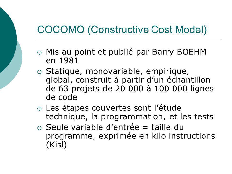 COCOMO (Constructive Cost Model)  Mis au point et publié par Barry BOEHM en 1981  Statique, monovariable, empirique, global, construit à partir d'un