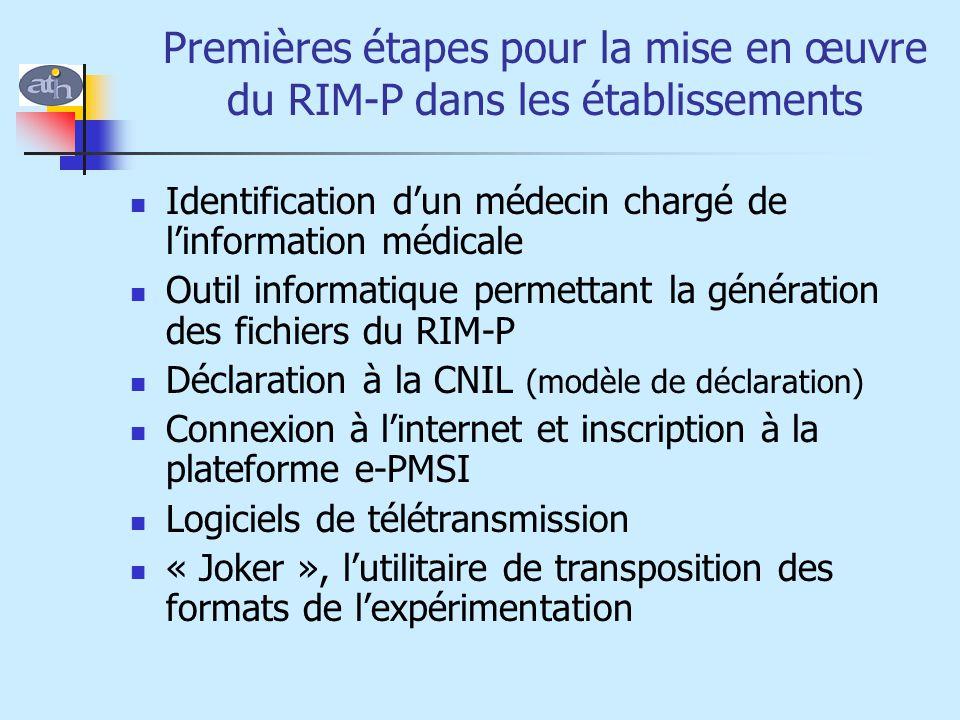 Premières étapes pour la mise en œuvre du RIM-P dans les établissements Identification d'un médecin chargé de l'information médicale Outil informatiqu